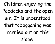 Children enjoying the Paddocks and the open air. It is understood that tobogganing was carried out on this slope.